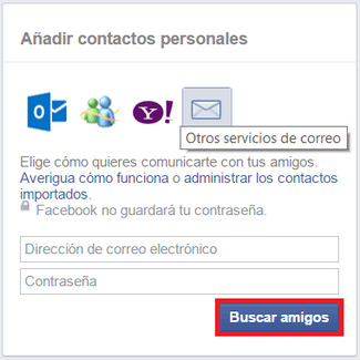 Importar contactos facebook